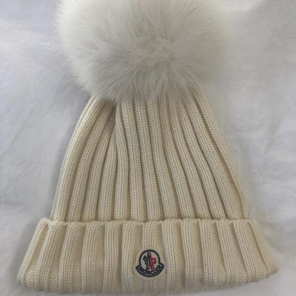 1a7db6e0207 Womens Moncler Genuine Fox Fur Pom Wool Beanie
